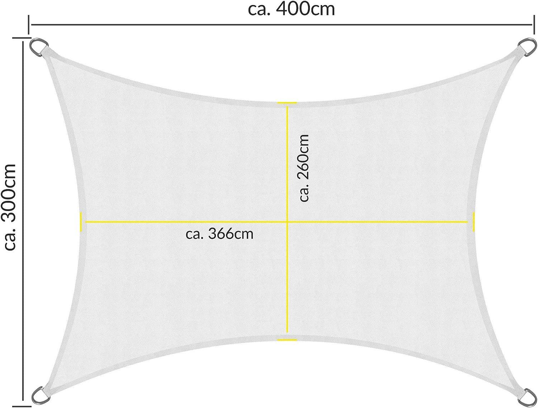 Bianco Protezione Anti Raggi UV Sol Royal Tenda a Vela Impermeabile 400x300 cm SolVision PS9 Rettangolare