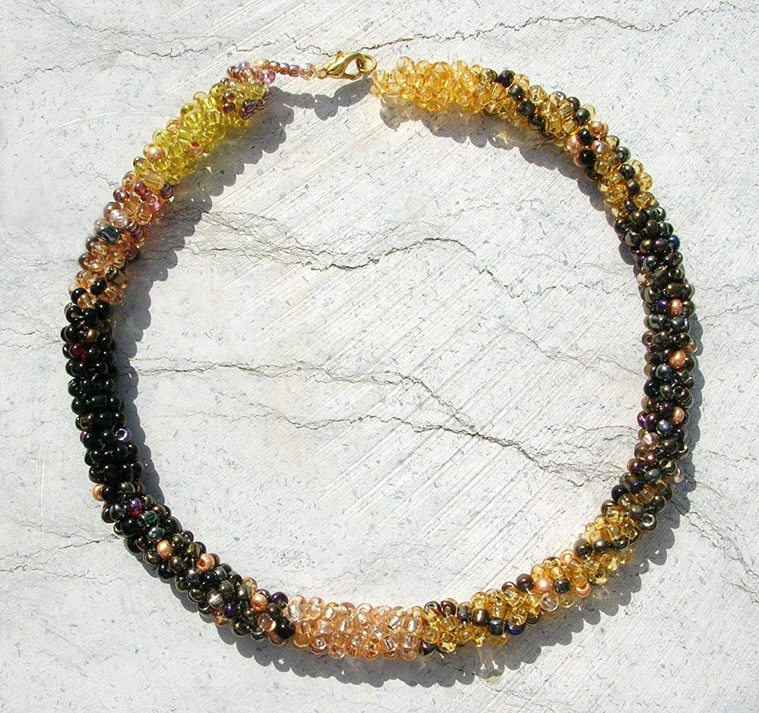 Amazon Com Beaded Rope Necklace Seed Bead Necklace Yellow Black Asymmetric Spiral Necklace Handmade