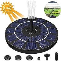 Solar Fuente Bomba, 2.5W Bomba de Fuente Solar Fuente Flotante con Batería incorporada 4 Boquillas, Bomba Estanque Solar Ideal para Pequeño Estanque, Baño de Aves, Fish Tank, Decoración del Jardín