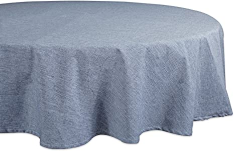 Amazon Com Dii 100 Cotton Chambray Round Tablecloth Everyday Basic Seats 4 To 6 People 70 Blue Home Kitchen