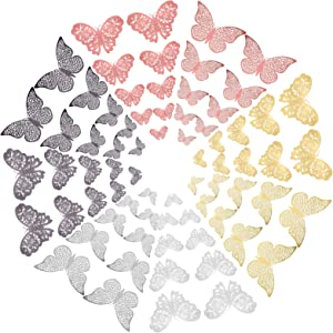 96 Pieces 3D Butterfly Wall Decor Paper Gold Butterflies Cake Decorations for Cake Decorating Wall Decor Wedding Party Decorations (4 Color)