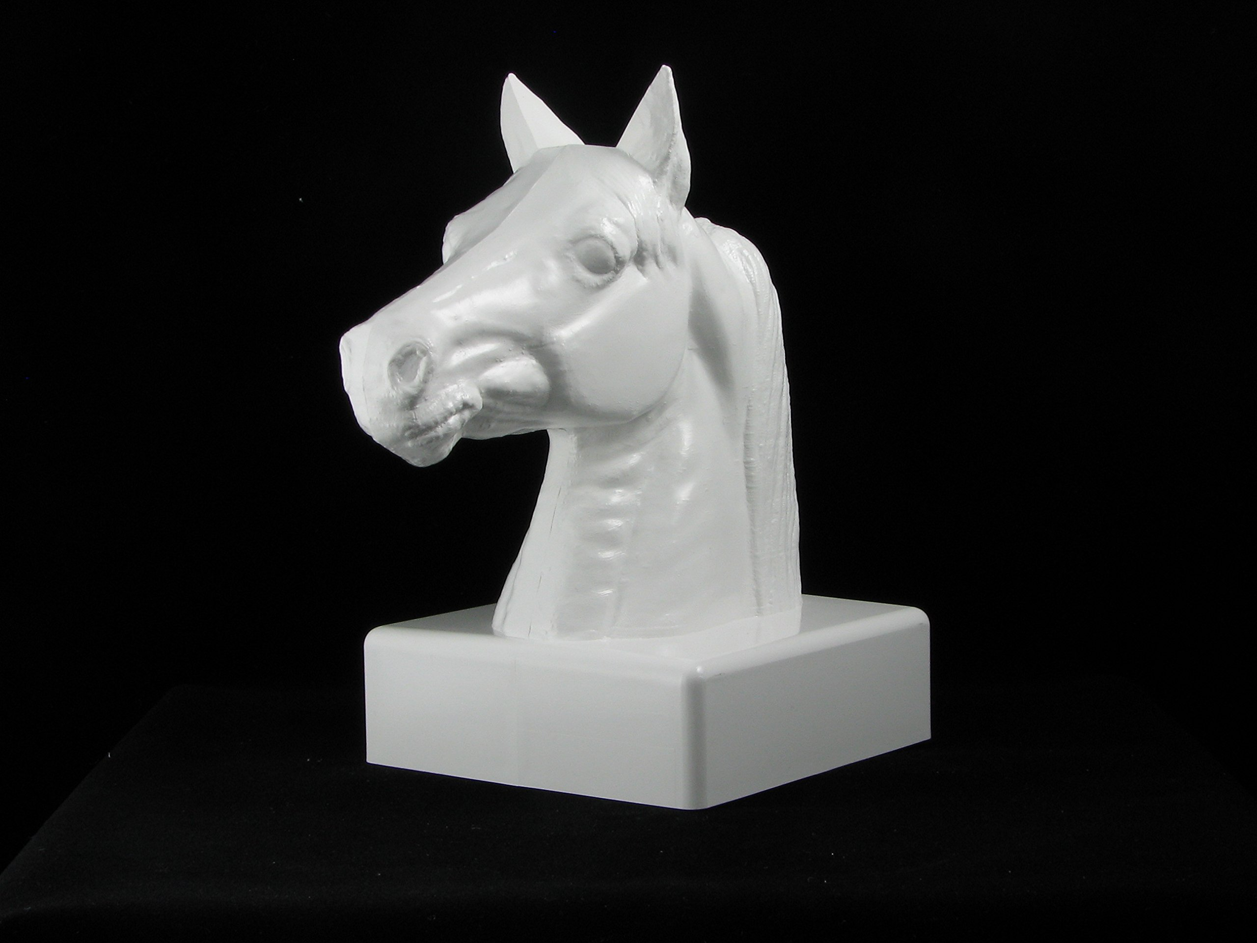 5''x 5'' Vinyl Post Cap - Stallion Real Horse Head Cap White