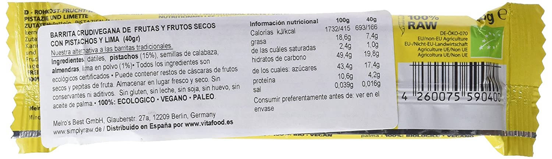 Simply Raw Barrita Vegana de Pistacho y Lima - Paquete de 15 x 40 gr - Total: 600 gr: Amazon.es: Alimentación y bebidas