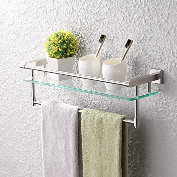 amazon com kes a2225 2 sus304 stainless steel bathroom glass shelf rh amazon com glass shelves in bathroom niche decorating glass shelves in bathroom
