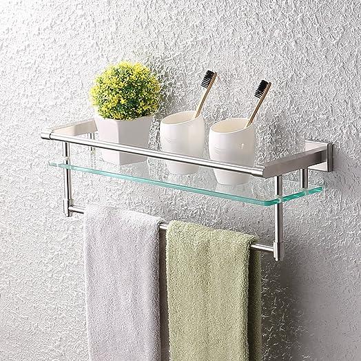 kes tempered glass shelf bathroom shelf with single rail stainless steel shower shelf wall mounted