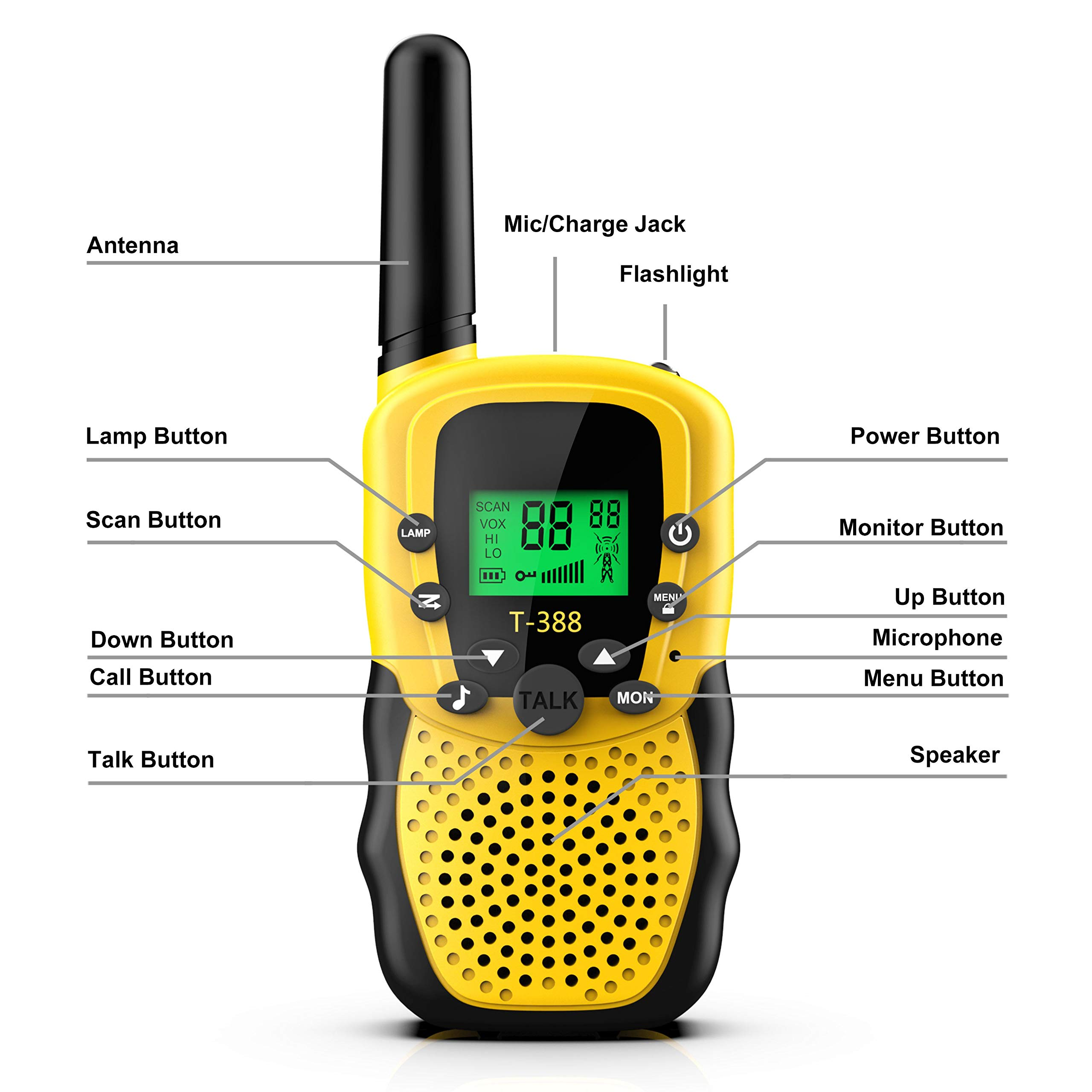 Walkies Talkies for Kids, 22 Channels FRS/GMRS UHF Two Way Radios 4 Miles Handheld Mini Kids Walkie Talkies for Kids Best Gifts Kids Toys Built in Flashlight by JimBest1970 (Image #2)