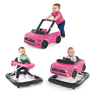 Bright Starts 3 Ways to Play Walker, Ford Mustang Pink, 6 Months +