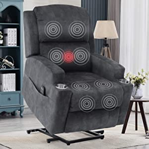 Anj Big and Tall Electric Power Recliner Chair with USB Charge Port