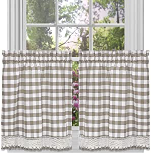 GoodGram Buffalo Check Plaid Gingham Custom Fit Farmhouse Café Styled Window Tier Curtain Treatments - Assorted Colors & Sizes (Taupe, 24 in. Length)