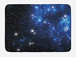 """Ambesonne Constellation Bath Mat, Outer Space Star Nebula Astral Cluster Astronomy Theme Galaxy Mystery, Plush Bathroom Decor Mat with Non Slip Backing, 29.5"""" X 17.5"""", Blue Black"""