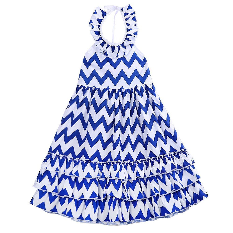 Amazon Kids Girls Backless Wave Stripe Maxi Long Sundress Boho