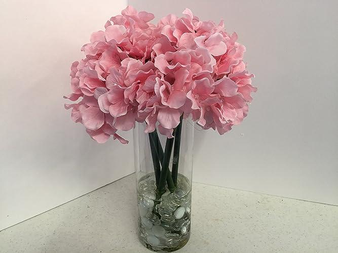 Amazon Pink Hydrangeas In A Tall Glass Vase Handmade