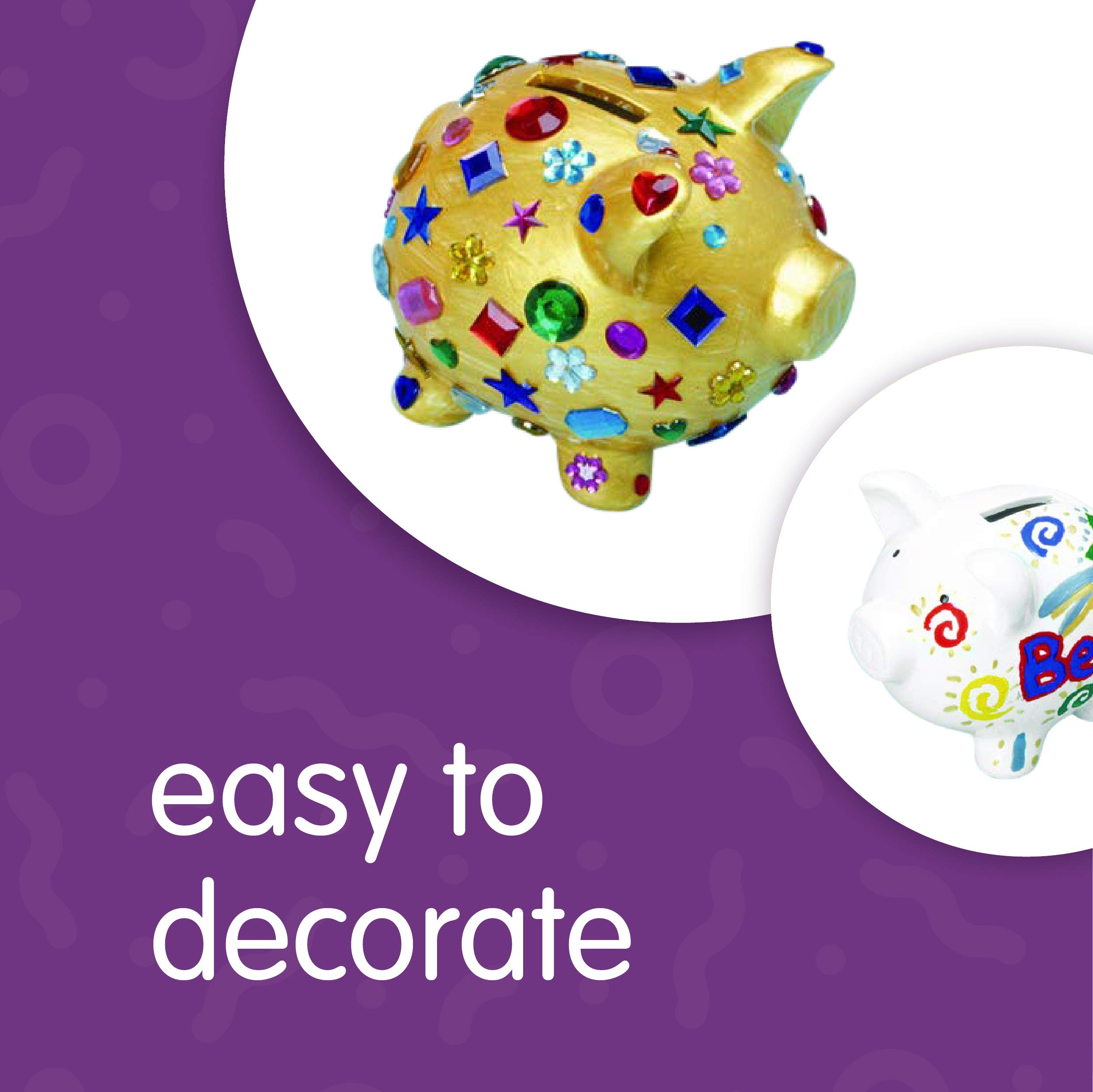 Colorations Decorate a Piggy Bank Kit of 12 Piggy Banks for Kids Art Project (Item # Piggy) by Colorations (Image #4)