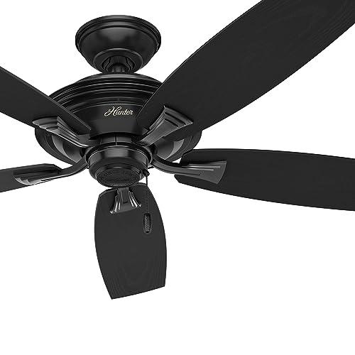 Hunter Fan 52 inch Outdoor Ceiling Fan in Matte Black with 5 fan Blades Renewed