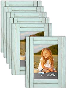 Icona Bay 5x7 (13x18 cm) Picture Frames (Eggshell Blue, 6 Pack), Rustic Picture Frame Set, Natural Real Wood Frames, Cottage Collection