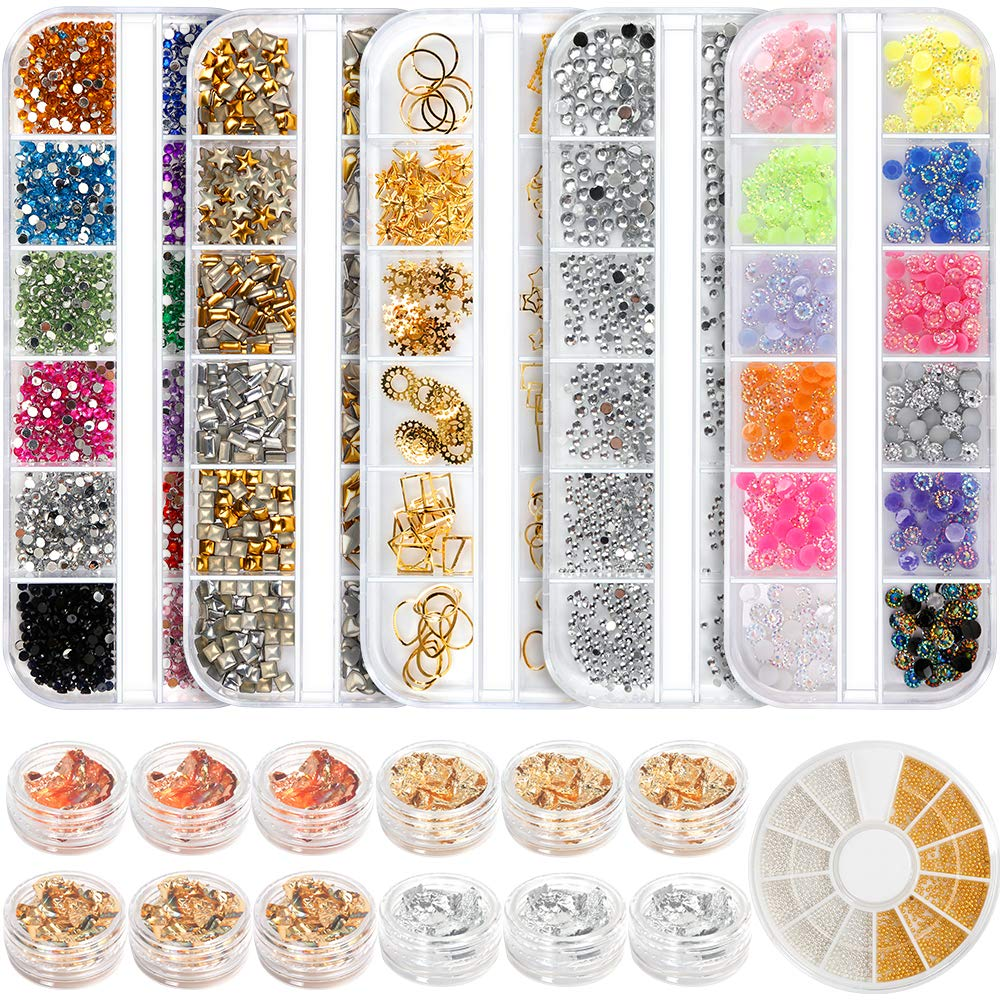 Teenitor Professional Nail Kit with 6 boxes Nail Art Rhinestones& 1 box nail foil chip, Multi-size Gems Metal Nail Rivets Studs Double-sided Color Nail Art Foil Pailette Chip Foil flake: Beauty