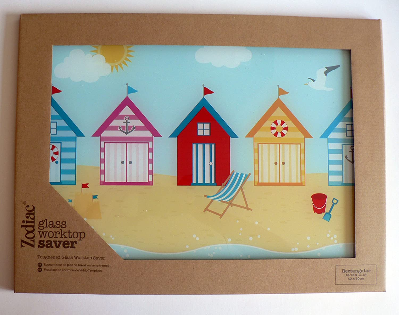 Beach Hut Glass worktop Saver 40x30cm: Amazon.co.uk: Kitchen & Home