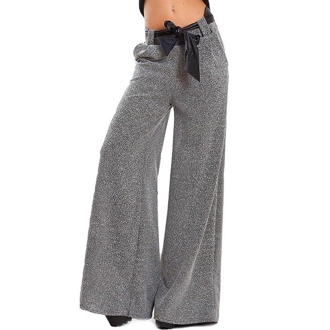 c1fa2c893c1e Toocool - Pantaloni Donna Lunghi Vita Alta Fiocco Laccio Palazzo Eleganti  Sexy VB-1119 [Taglia Unica,Grigio]: Amazon.it: Abbigliamento