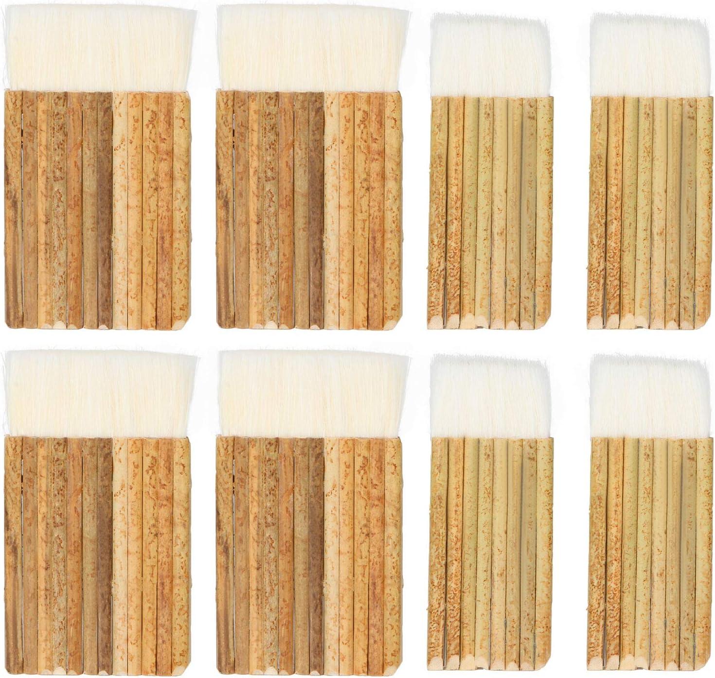 HNBun 8 PCS Sheep Hair Hake Brush, Bamboo Handle Hake Blender Brush for Kiln Wash, Watercolor, Dust Cleaning, Ceramic, Pottery Painting