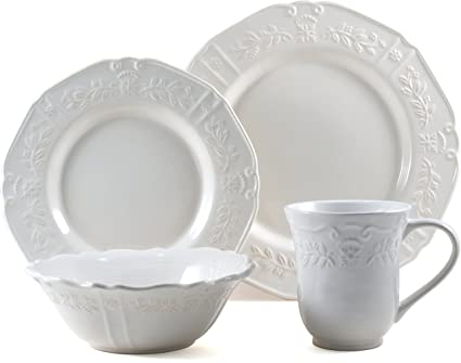 Corningware Traditions White Stoneware 16 Piece Dishware Set Service for 4  sc 1 st  Amazon.com & Amazon.com | Corningware Traditions White Stoneware 16 Piece ...