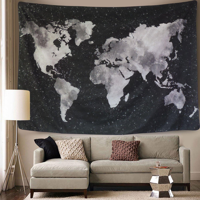 Large world map tapestry dorm decor black white starry wall hanging large world map tapestry dorm decor black white starry wall hanging bed spread gumiabroncs Images