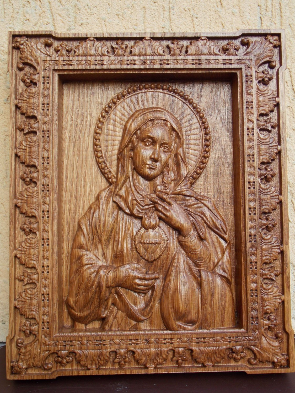 Immaculate Heart of Mary Catholic Icons Wood wedding anniversary personalized gift Wood Carved religious wall plaque FREE ENGRAVING FREE SHIPPING