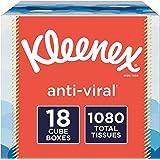 Kleenex Anti-Viral Facial Tissues, 18 Cube Boxes, 60 Tissues per Box (1,080 Tissues Total)