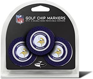Team Golf NFL Golf Chip Ball Markers (3 Count), Poker Chip Size with Pop Out Smaller Double-Sided Enamel Markers