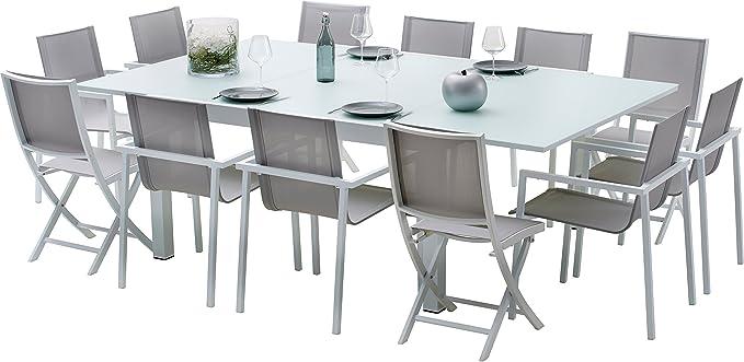 Salon de jardin aluminium blanc et verre trempé 12 personnes: Amazon ...