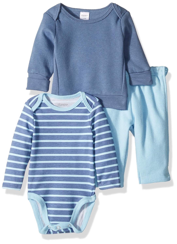 Hanes Ultimate Baby Zippin Fleece Pant with Long Sleeve Bodysuit and Sweatshirt