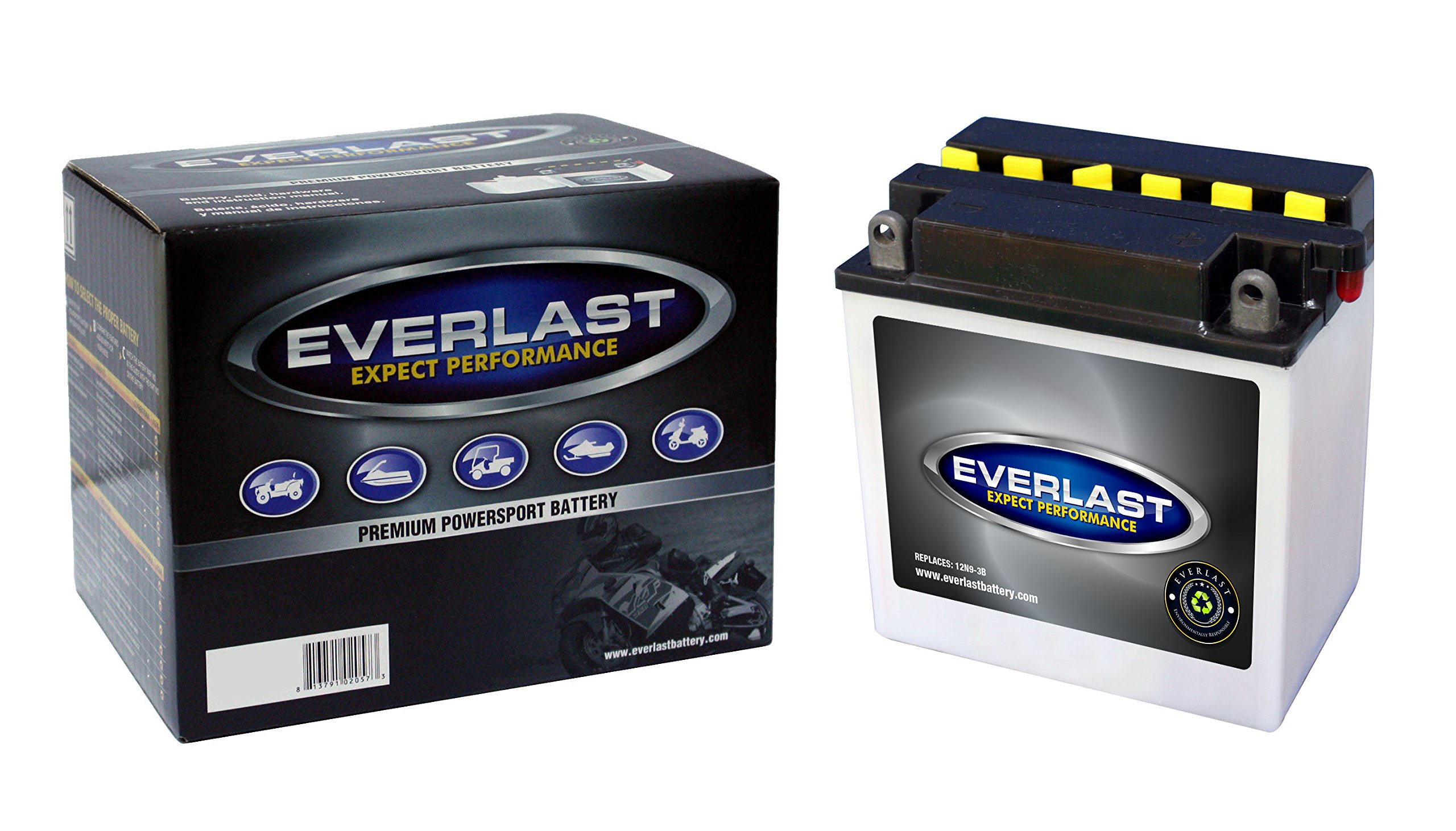 EverLast Battery - 12N9-3B - 12 Volt, Conventional Battery with Acid Pack -5 3/8 L X 3 W X 5 7/16 H