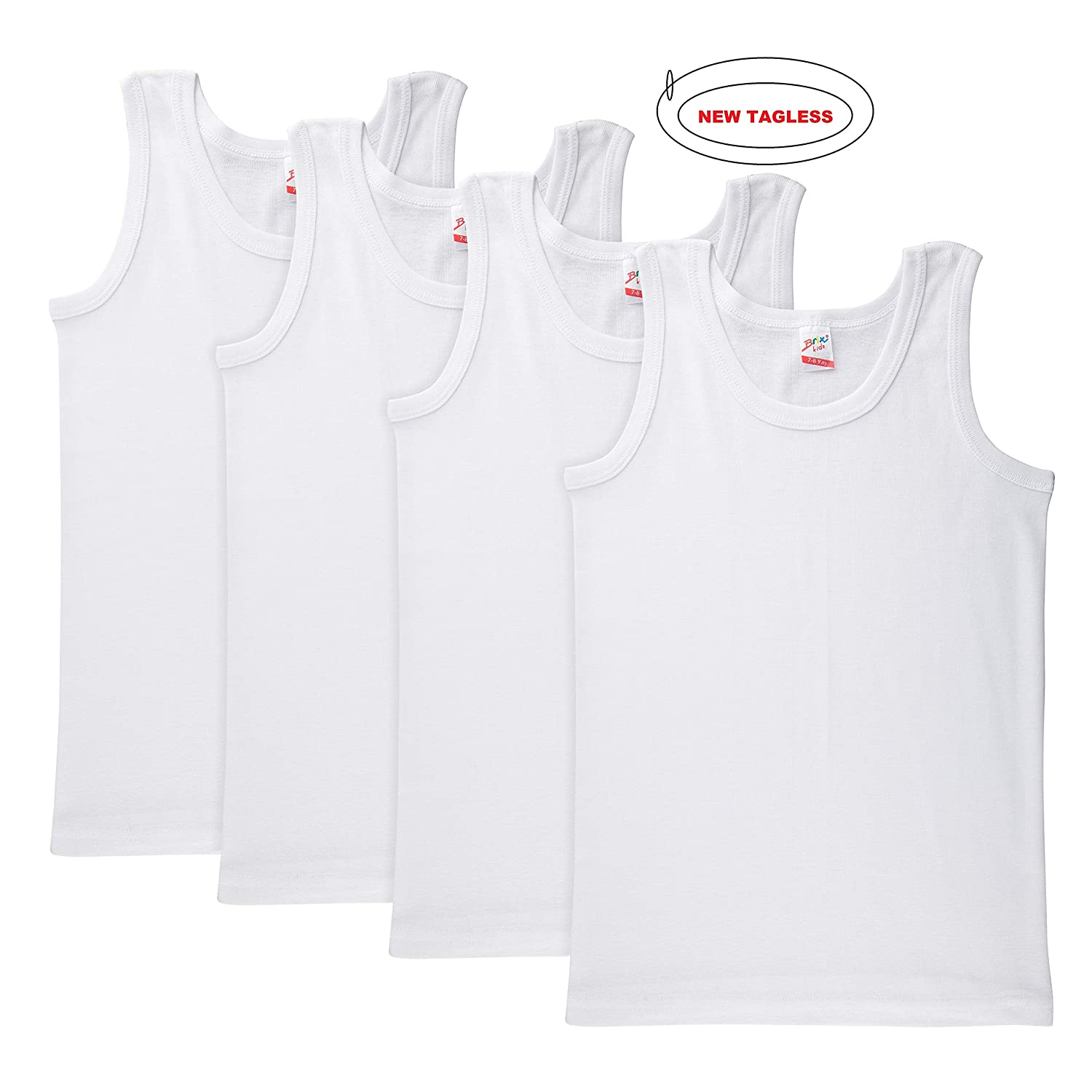 Brix Toddler Boys Girls Tank Top Undershirts White Tagless Super Soft 4 8300 Pack