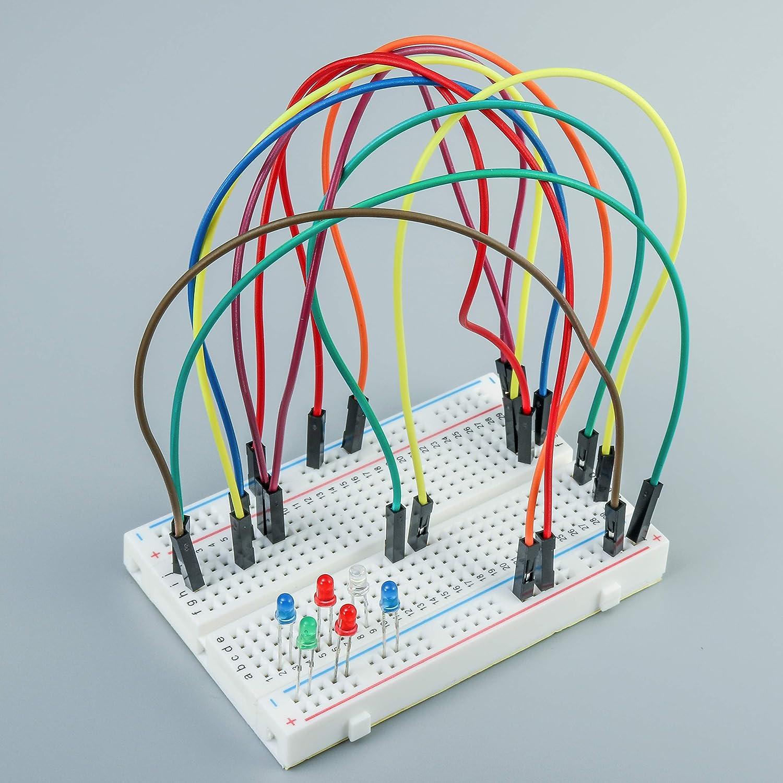 ALLDREI Breadboard Panel de Experimentaci/ón Breadboard 6 PCs 400 Kontactos Breadboard para Raspbeery y Arduino