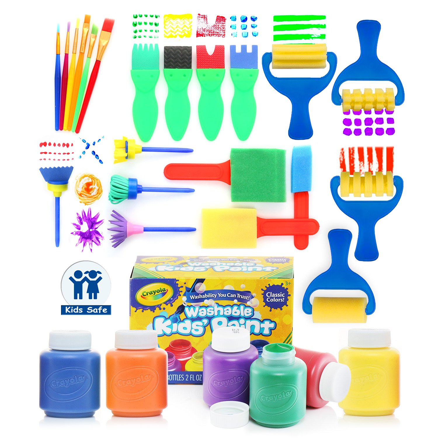 Glokers Early Learning Kids Paint Set, 28 Piece Mini Flower Sponge Paint Brushes. Assorted Painting Drawing Tools in a Clear Durable Storage Pouch. Including 6 Crayola Washable Kids Paint by glokers