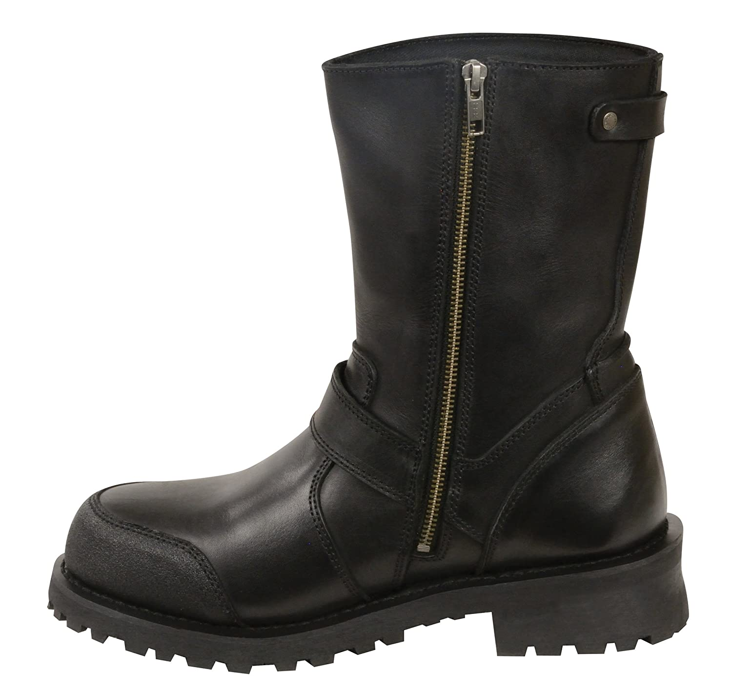 Black, Size 10.5 Milwaukee Leather Mens Classic Boots with Buckle Detail