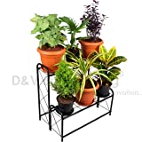 D&V Engineering Metal 2-Step, 6 Planter Indoor/Outdoor Flower Pot Stand, Plant Stand, Kitchen Shelf Stand for Home Decor, Office, Garden, Balcony Decor (Black, 6 Pot Step Type)