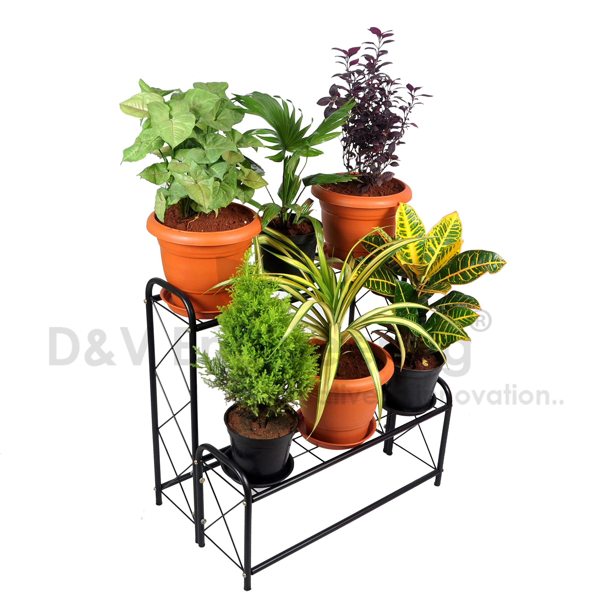 D&V Engineering Metal 2-Step, 6 Planter Indoor/Outdoor Flower Pot Stand, Plant Stand, Kitchen Shelf Stand for Home Decor, Office, Garden, Balcony Decor (Black, 6 Pot Step Type) product image