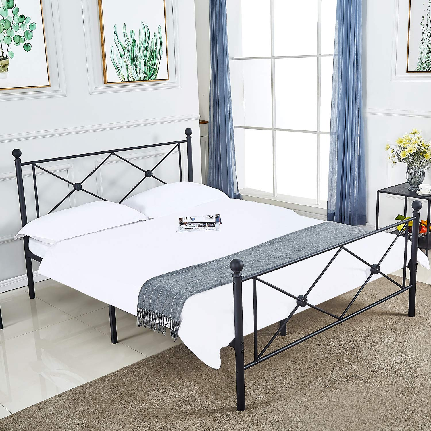 DIKAPA Sturdy Metal Bed Frame,Platform Mattress Foundation Box Spring Replacement with Victorian Style Headboard and Footboard Full