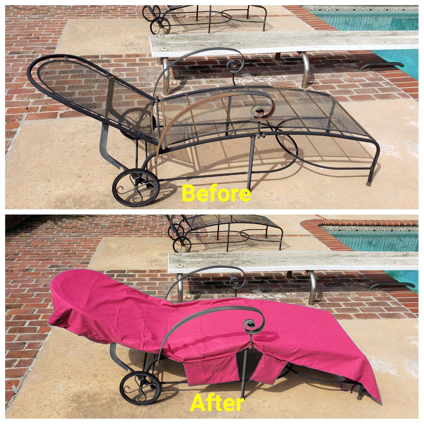 VOCOOL Sun Lounger Mate Beach Towel Carry Pockets Bags Holiday Garden Thicker Lounge Pink