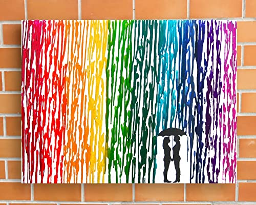 Lesbian Wedding Gift, Rainbow Melted Crayon Art, Gifts For Lesbian Couple, In The Rain Painting 16×20