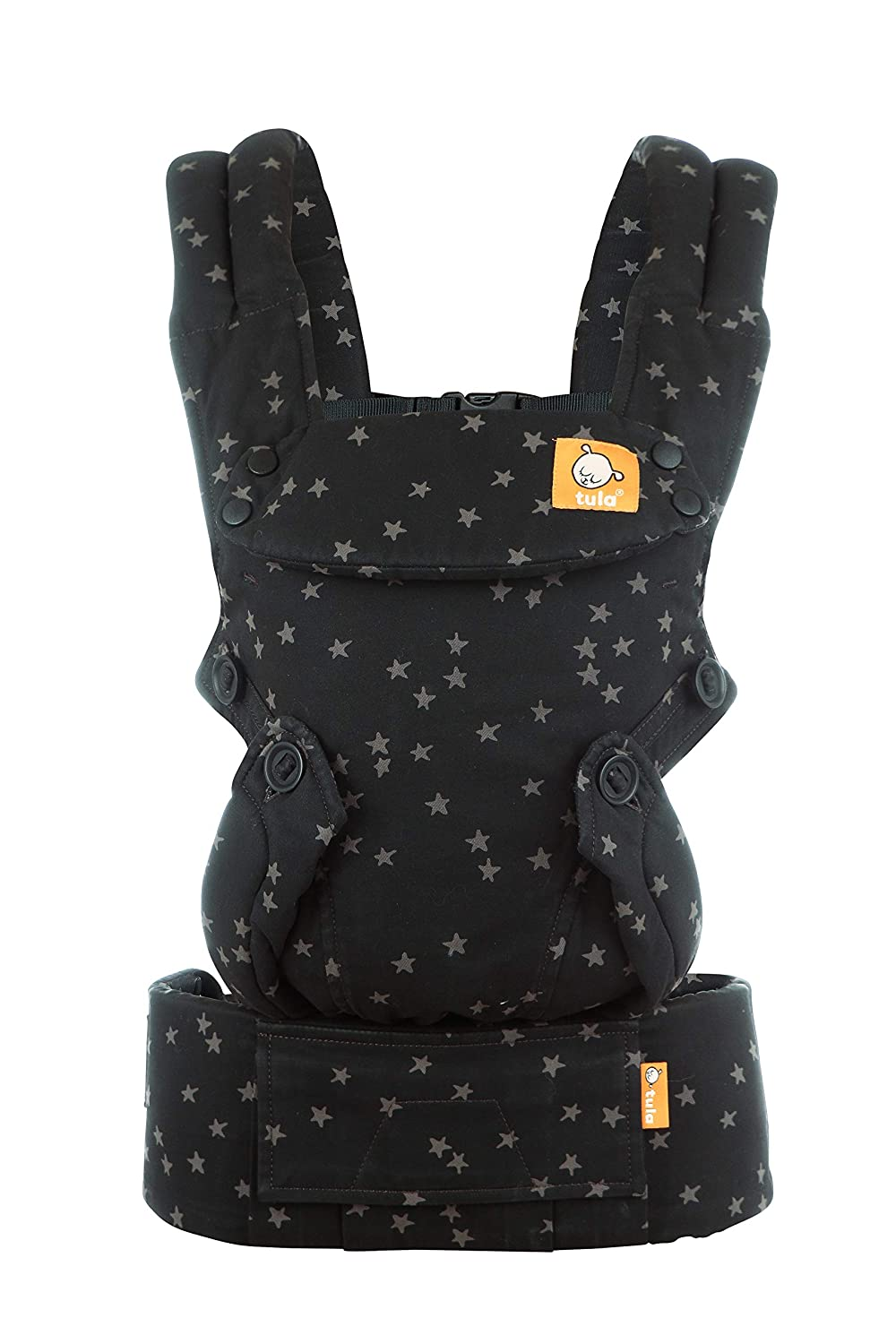 Baby Tula Discover Free-to-Grow Baby Carrier, Adjustable Newborn to Toddler Carrier, Ergonomic and Multiple Positions for 7 – 45 pounds, Black with Gray Stars