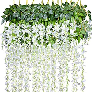NEW RUICHENG Artificial Hanging Plants, Artificial Leaves White Wisteria Flower 12 Pack Fake Vine Hanging Plant Artificial Vine Plant Garland Green Leaves Fake Plastic Plant Garden Wedding Wall Decor