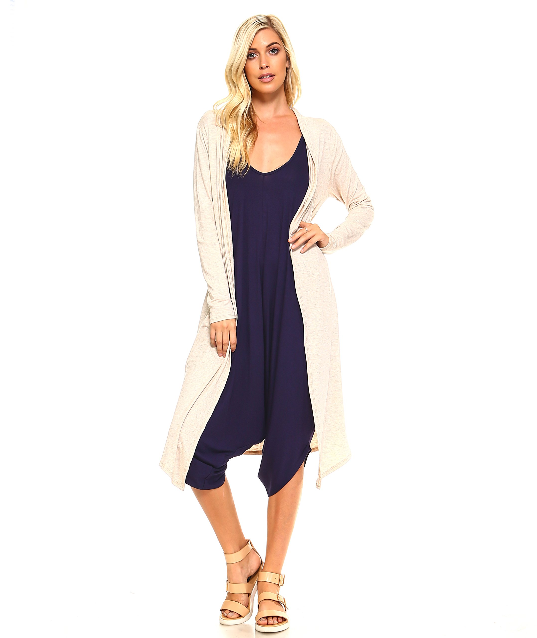 Isaac Liev Trendy Extra Long Duster Soft Cardigan (X-Large, Oatmeal)