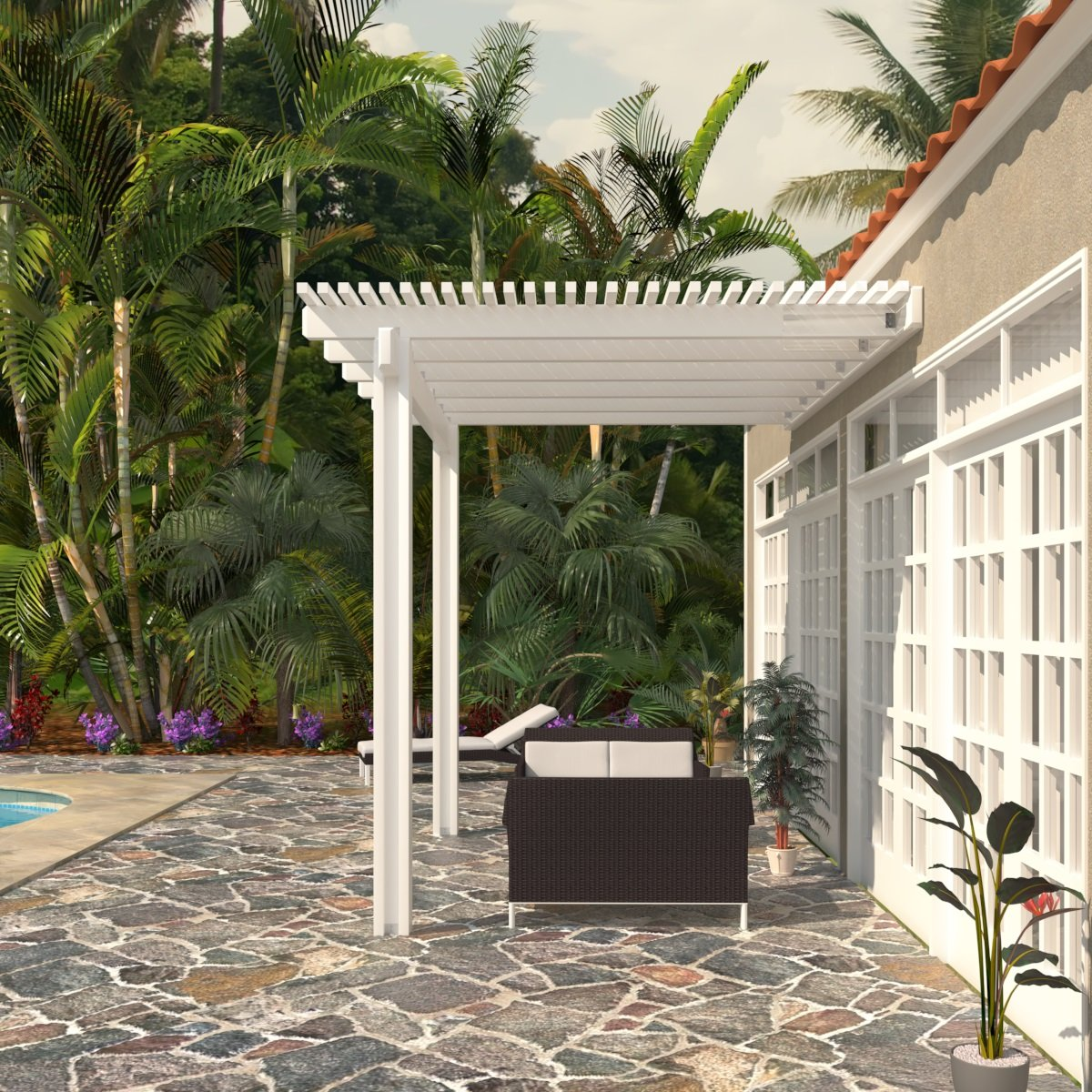 Heritage Patios Aluminum Pergola - 8 ft. x 12 ft. (White) by Heritage Patios