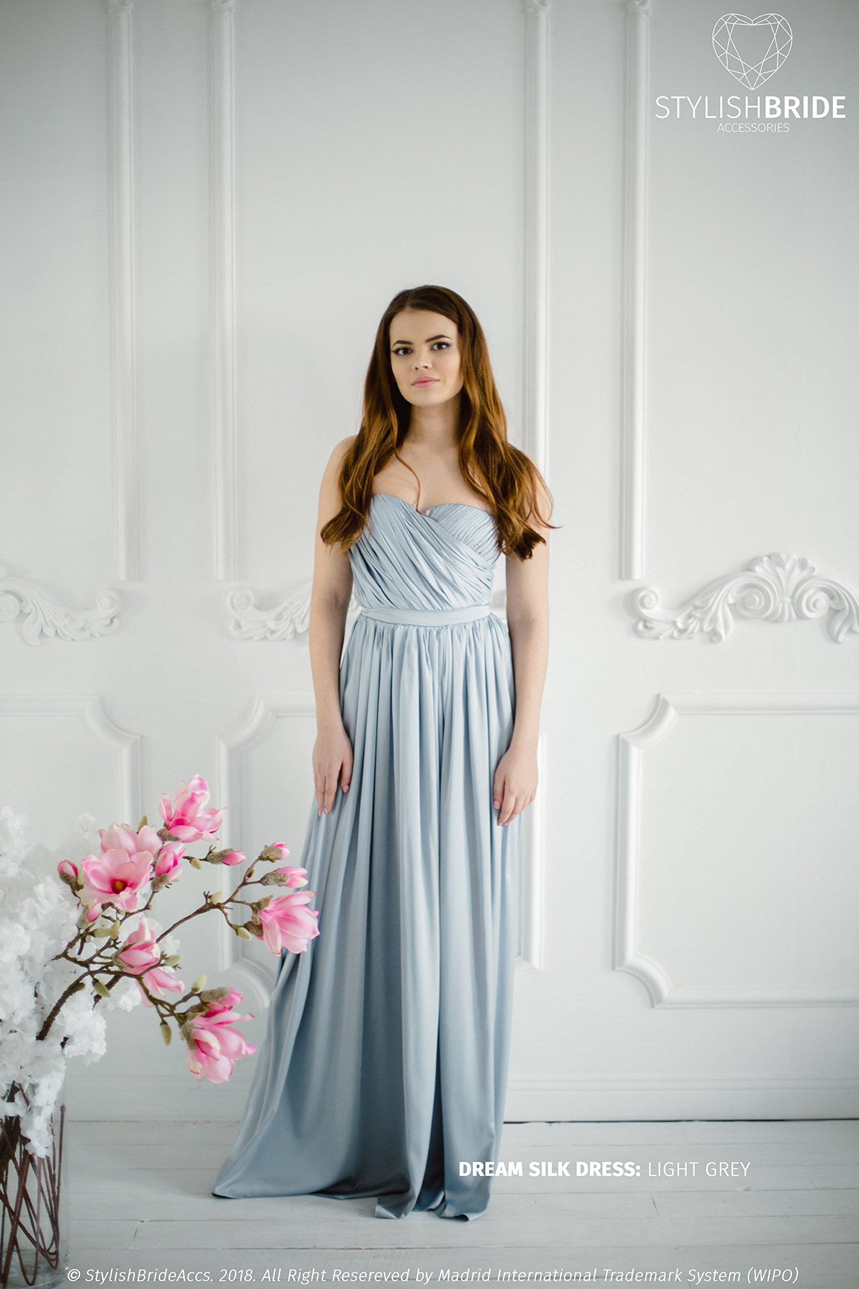 Dream Bridesmaid Silk Satin Dress in Light Grey, Simple bridesmaid dresses, plus size prom dress, Sweetheart Strapless Silk Maxi Dress
