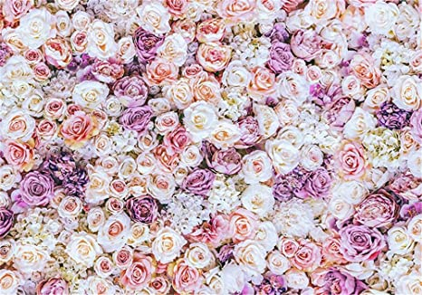 Stampa Digitale Rosa Crema Viola Fiore Parete Fondale Per Matrimonio