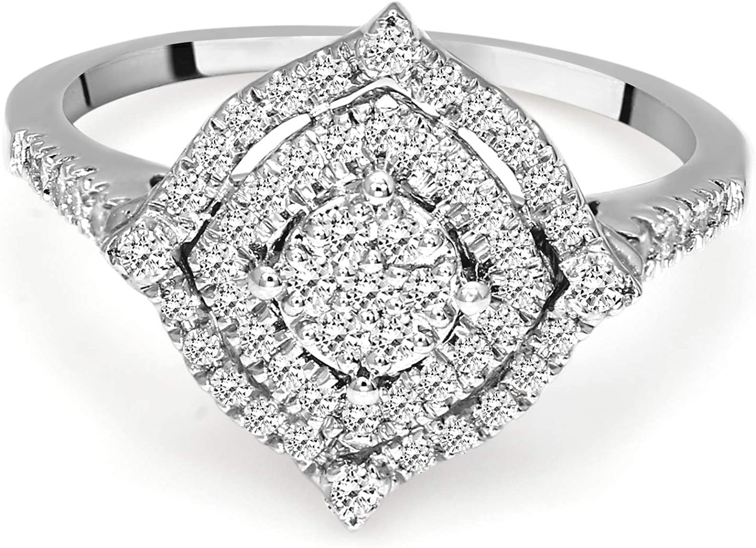 Lab Grown Diamond Ring 10K White Gold 3/8 carat Lab Created Diamond Square shaped Halo Engagement Ring For Women (3/8 CTTW, GH Color, SI Clarity Diamond Jewelry For Women)