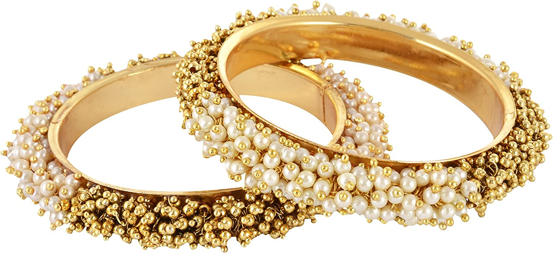 Babosa Sakhi India Bollywood Gold Plated Polki Pearl Ball Design Bangle Bracelet