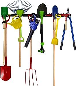 Garden Tool Organizer- Garage Tool Organizer Wall Mount- Tool Racks for Garage Walls- Heavy Duty Tool Storage Rack Includes 2 Mounts, 7 Adjustable Hooks and Hardware