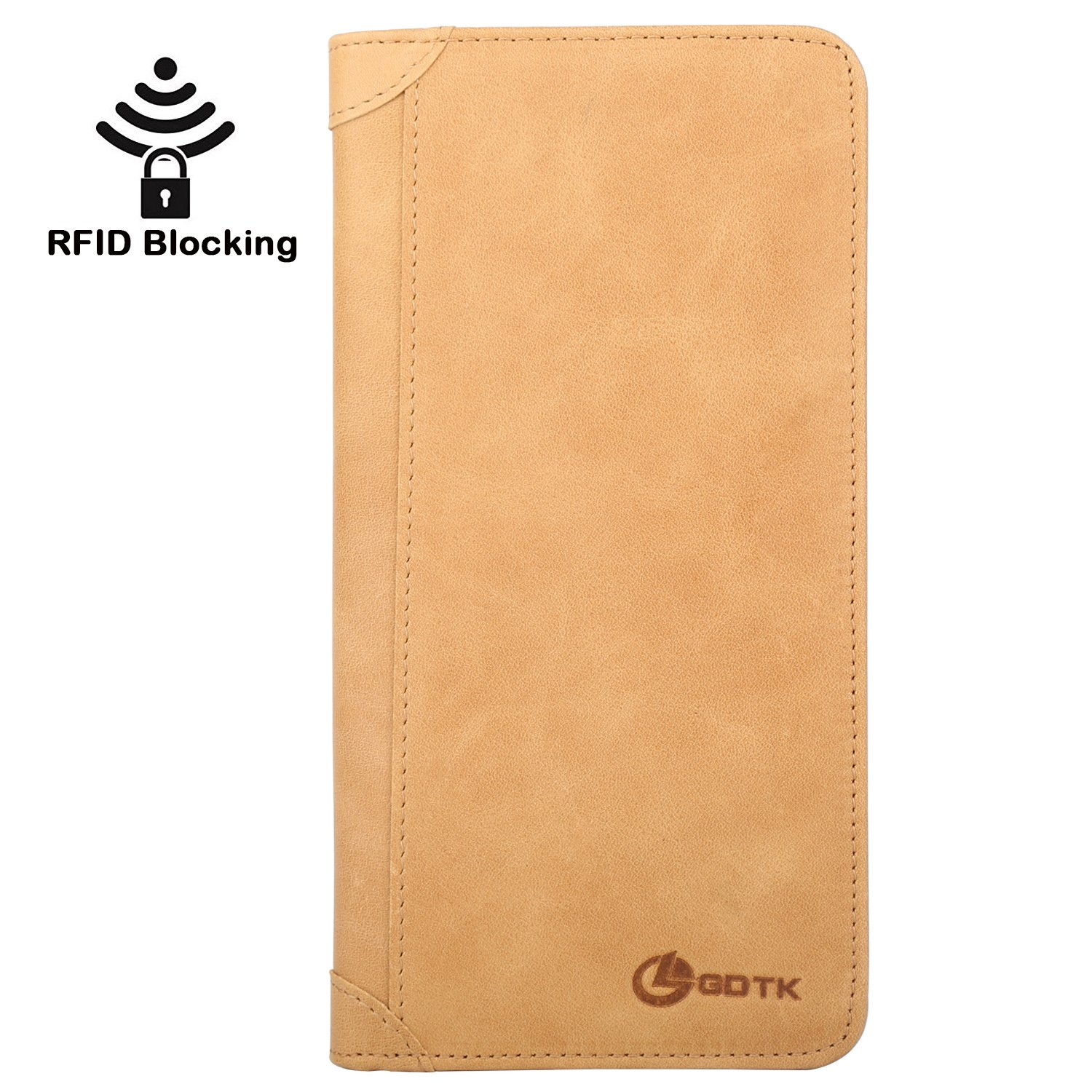 Women's Wallet - Genuine Italian Leather Long Bifold RFID Blocking Wallet (Tan)